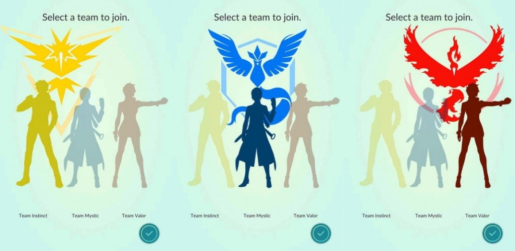 Image of Team selection pages from the Pokemon Go app