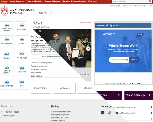 Image of City University London Intranet Homepage half as a wireframe and half as the finished design